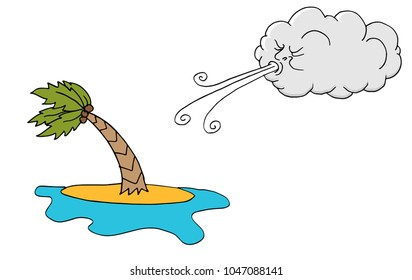 An image of a Windy Day island plam tree and Cloud Blowing Wind cartoon.