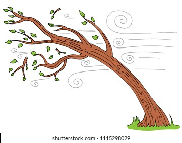 An image of a Windy Day Tree Bending Broken Branches cartoon.