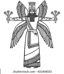 Image of a winged Assyrian deity. Character of Sumerian mythology. Black-and-white vector illustration. Isolated on a white background.