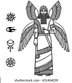 Image of a winged Assyrian deity. Character of Sumerian mythology. Set of space solar symbols. Black-and-white vector illustration. Isolated on a white background.
