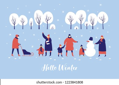 Image of winter walk of parents with children in snowy park. People make snowman and sledding in forest. Concept of active recreation. Happy winter holidays. Vector colorful seasonal illustration.