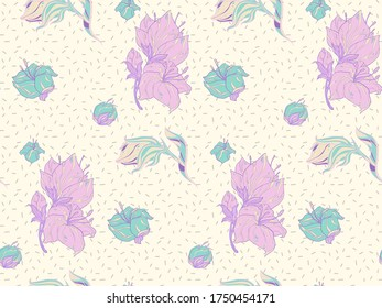Image without seams. Beautiful pattern on a summer theme. Pattern consisting of  colors and  garden flowers. Background image.