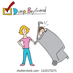 An image of a Woman Dumping Boyfriend Into the Trash.