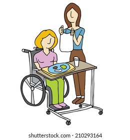 An image of a woman feeding a nursing home patient.