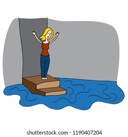 An image of a Woman With Flooded Basement.