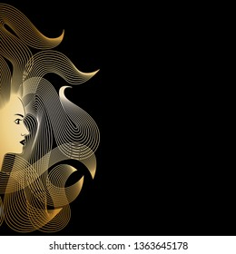 Image woman with long hair. Isolated symbol of goldilocks with flowing hair on black background. Style icon. Graphic sign. Logo. Vector illustration