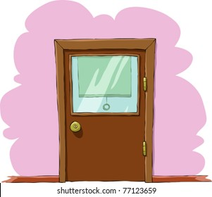 Image of a wooden cabinet doors, vector illustration