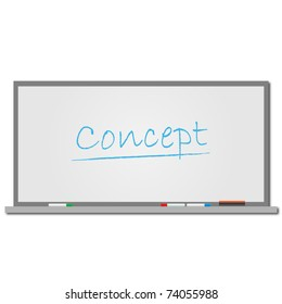 """Image of the word """"Concept"""" written on a dry erase board isolated on a white background."""