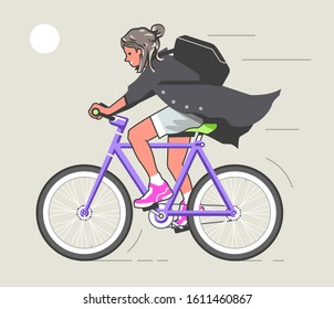 Image of a young smiling pretty girl riding a fixed gear bike. Simple flat vector illustration.