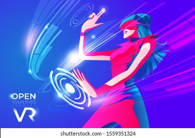 An imagery illustration of a woman wearing VR glasses and experiencing exciting experiences in the virtual world.