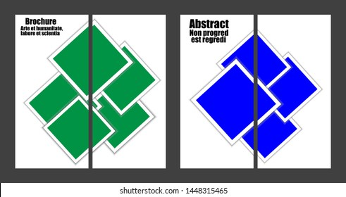 Images consisting of squares. Brochures and booklets. Two images make up one. Set of four images. Vector.