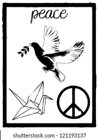 Images for Illustration of peace symbol in stencil style