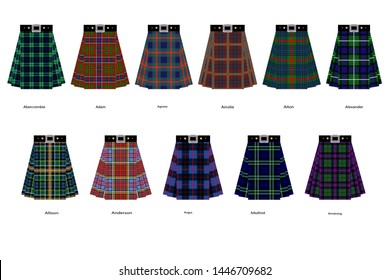 Images of kilts or skirts from different clan tartans. Simplified version of tartan