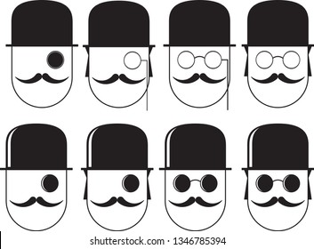 Images of men in pince-nez, hat and mustache, vector illustration