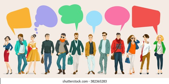 Images of modern humans, leading a dialogue with colorful speech bubbles. Speech bubbles in the form of puzzles. Dialogue and consensus.