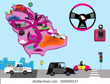 Images of Saudi Arabia finally allowing its women to drive. Editable Clip Art.