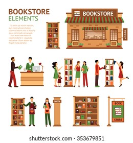 Images set of bookstore elements like store building cashbox booksellers and customers choosing books isolated vector illustration