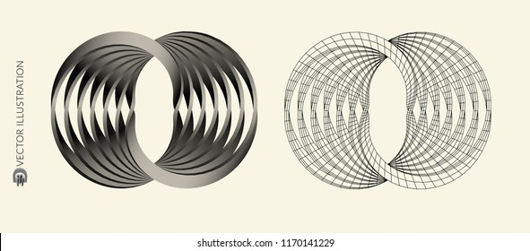 Images in the style of optical visual illusions. Circle Sign. Abstract Design. Logo Template. Vector Illustration.