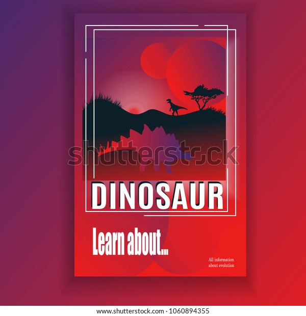 Images under cover of magazine, book or article. Dinosaurs and history about them, information about evolution. Planet and dinosaur silhouettes Learn about Modern Flat Vector Illustration.