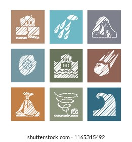 Images of various natural disasters. Vector clip art. Flat square icons. Simulated pencil shading. White drawings on a colored background.