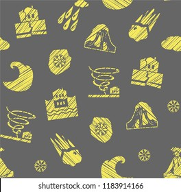 Images of various natural disasters. Vector picture. Imitation of pencil shading. Yellow drawings on a gray background.