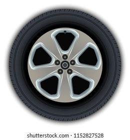 Images of wheels and tires of cars. Elements for website design.