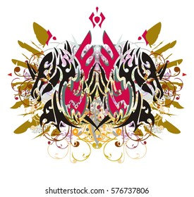 Imaginary animal symbol floral splashes. Grunge double horse-eagle symbol with colorful twirled floral elements and golden feathers