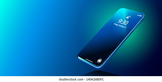 Imaginary Blue Realistic Smart Phone on Smooth Dark Blue Surface in Perspective View. Realistic Vector Illustration of Smartphone. New Visionary Shiny Mobile Cellphone with Reflection on the Screen.