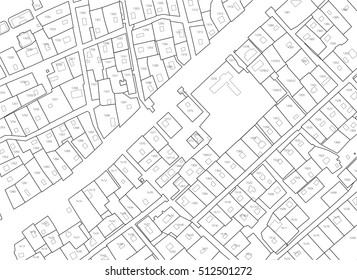 Imaginary cadastral map of territory with buildings and roads without names. Example cadastral plan. Urban planning background