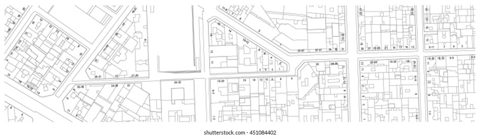 Imaginary cadastre map of territory with buildings, streets and house numbers