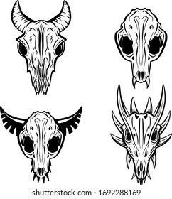 Imaginary Hand Drawn Animal Skull Carton Logo Illustration Vectors