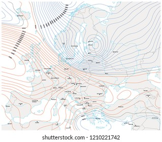 imaginary meteorological vector weather map of europe.