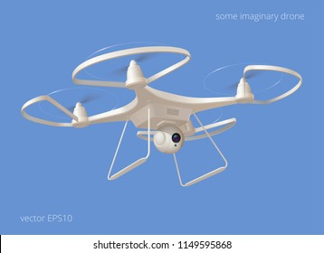 Imaginary modern drone. White plastic quadcopter flying in the blue sky. Unmanned multirotor helicopter with four rotating propellers has integrated spherical video camera. Realistic 3D vector object.