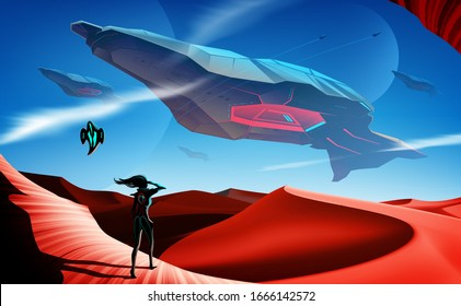 An imaginary sci-fi illustration of the space battleship fleets flying over the desert, at which a woman and her robot standing as the foreground in the picture and looking up to the sky.