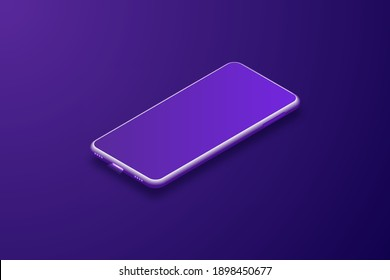 Imaginary smartphone. Vector 3d cell phone in perspective. Digital layout with trendy purple gradient. pattern against bluish purple background.