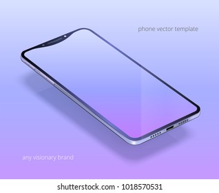 Imaginary smartphone. Vector 3d realistic cell phone in perspective view. Digital mockup with a trendy blue, lavender, light purple gradient. Realistic template on the bright bluish violet background.