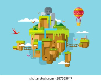 Imaginary soaring island on a blue sky background concept flat illustration.