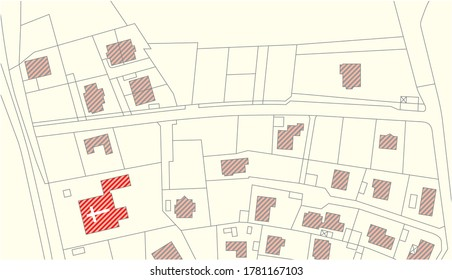 Imaginary vector cadastral map with buildings and streets