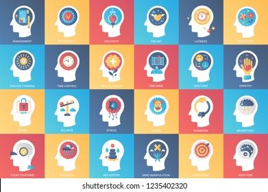 Imagination, brain features, emotions and mind power icon design concept. Icon for mobile and web graphics. Flat symbol, logo creative concept. Simple and clean flat pictogram