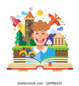 Imagination concept, child with open book. Fairy Tales: characters, castle, dragon, rocket, car, yeti, temple, mountain. Vector flat illustration