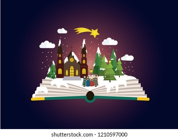 Imagination concept - choir /carolers in front of the church at the christmas night.