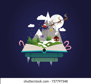 Imagination concept - christmas fairy tail story come out of a book. Book shop christmas.