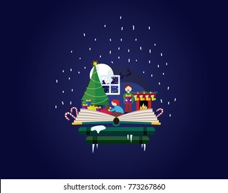 Imagination concept - christmas fairy tail story come out of a book. Book shop christmas. Children opening presents.