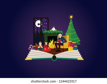 Imagination concept -  grandad reading christams story to children.  Fairy tale story comming out of a book.