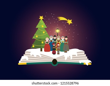 Imagination concept-  group of carolers singing  outdoor next to christmas tree. Fairy tale story comming out of a book.