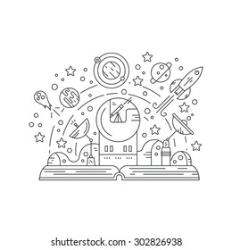 Imagination concept - open book with observatory, rocket, planets, stars and open space. Curiosity vector concept made in linear style. Solar system exploration.