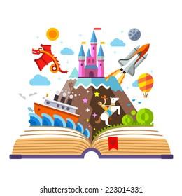 Imagination concept - open book with rocket, castle, boat, dragon, cowboy, air balloon . vector flat illustration