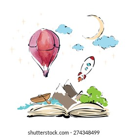 Imagination concept - open book with rocket, mountain, moon, boat, air balloon . vector flat illustration