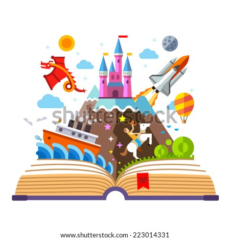 Imagination concept - open book with rocket, castle, boat, dragon, cowboy, air balloon . vector flat illustration