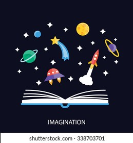 Imagination concept with opened book and rocket, planets, stars, UFO space ship, etc., vector illustration